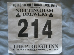 My race number! (pic taken after the race)